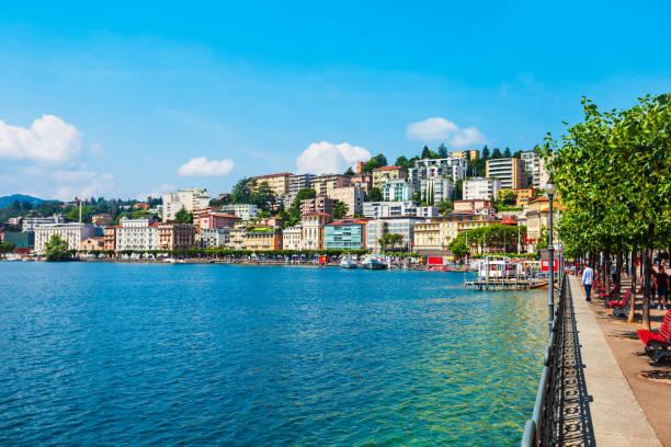 Lugano lake and city, Switzerland stock photo