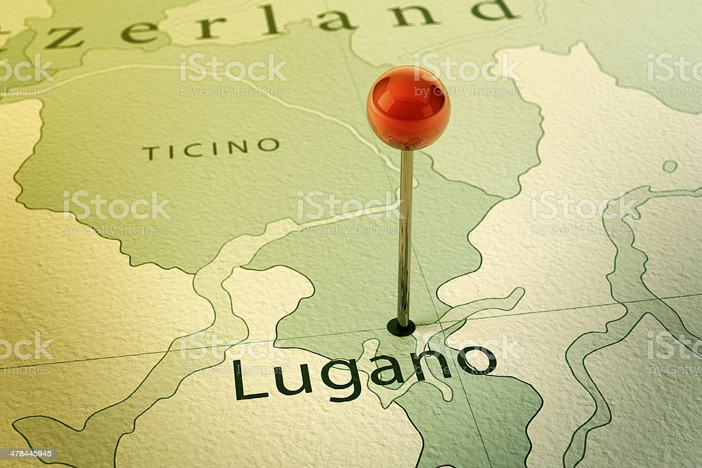 Lugano Map City Straight Pin Vintage Stock Photo More Pictures of