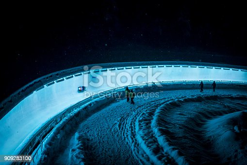 Whistler, BC, Canada - Dec 10, 2016: Unrecognizable athlete on track racing during Luge World Cup.