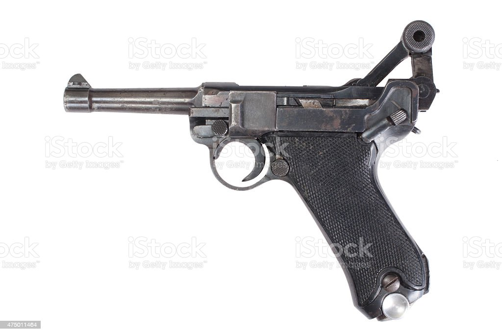 Luger P08 Parabellum handgun isolated stock photo