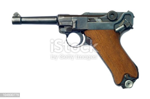 A German (Pistole Parabellum 1908) Luger P08 pistol with the safety catch on. The Luger was made popular by its use by Germany during World War I and World War II. Although the Luger pistol was first introduced in 7.65x22mm Parabellum, it is notable for being the pistol for which the 9x19mm Parabellum (also known as the 9mm Luger) cartridge was developed. Please see my Guns lightbox: