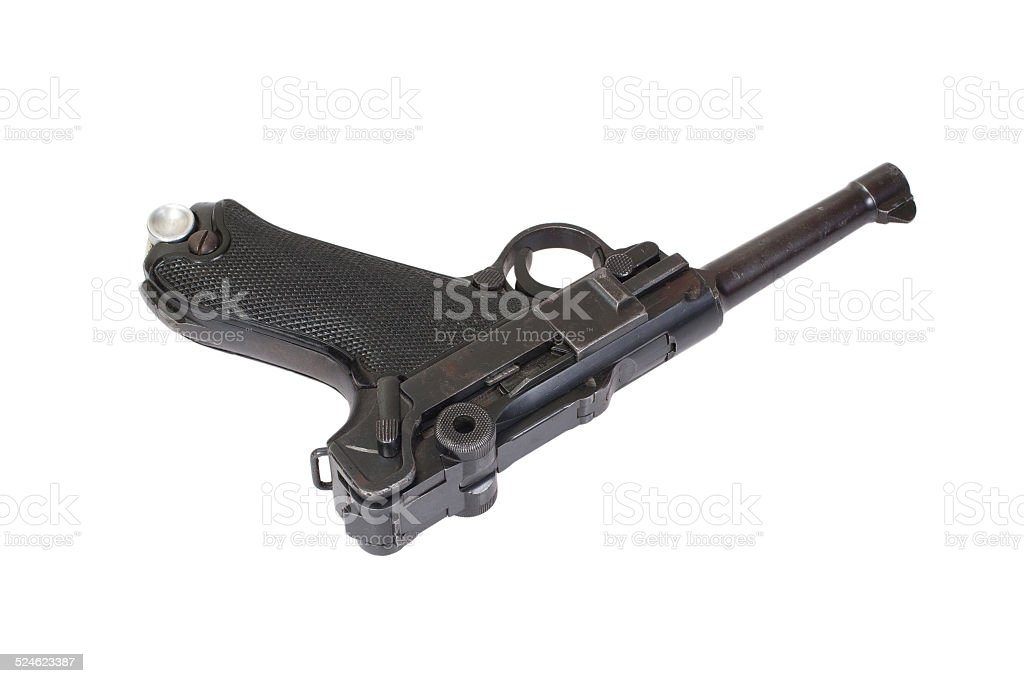 Luger - Parabellum handgun isolated stock photo