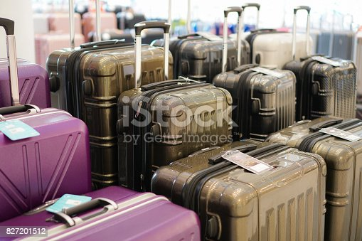 istock Luggage a lot of large suitcases rucksacks and travel bag. 827201512