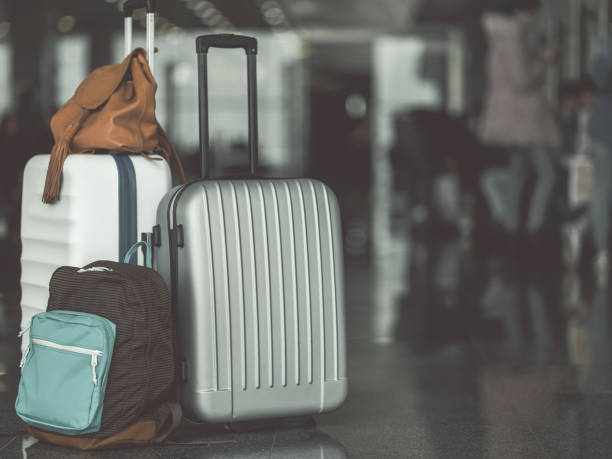 luggage and bag locating on floor - sport set competition round stock photos and pictures