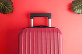 Suitcase with tropical monstera leaves on red background minimal creative travel concept.