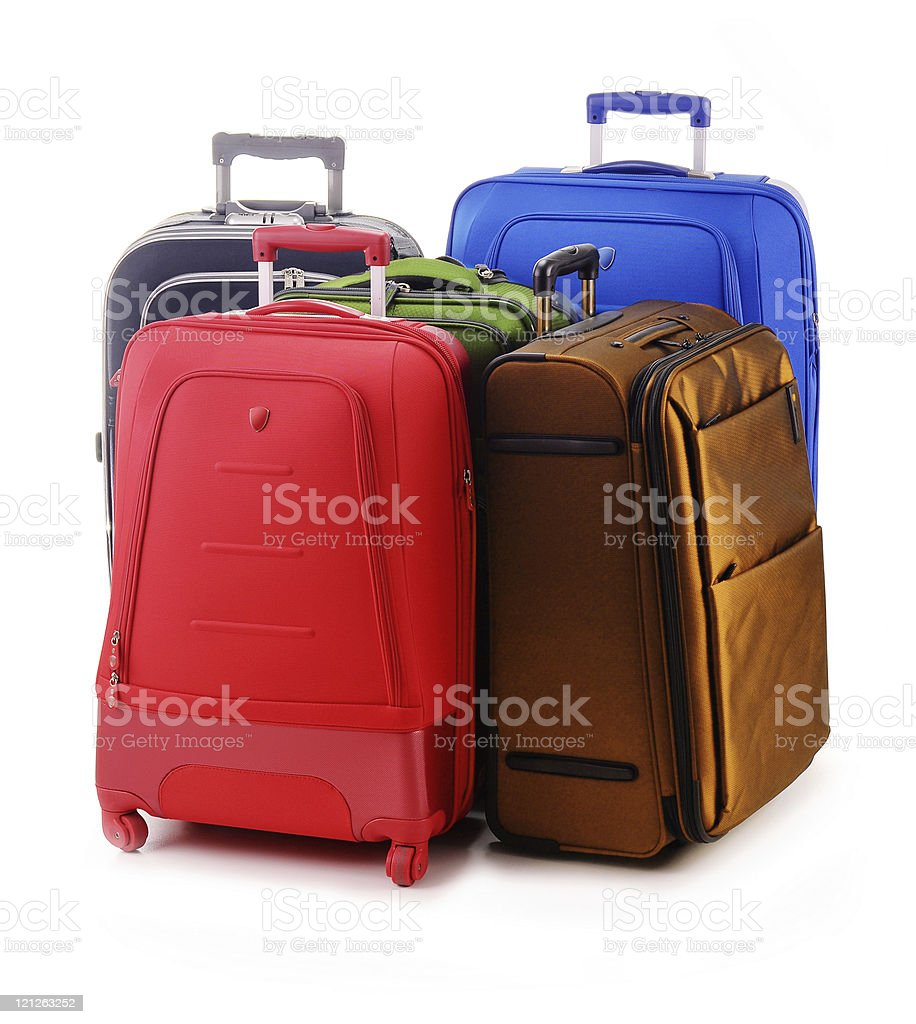 Luggage consisting of large suitcases isolated on white royalty-free stock photo