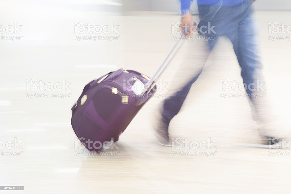 Luggage in Airport - Blurred Motion Panning stock photo