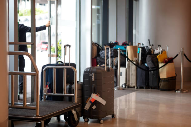 Luggage in hotel lobby stock photo