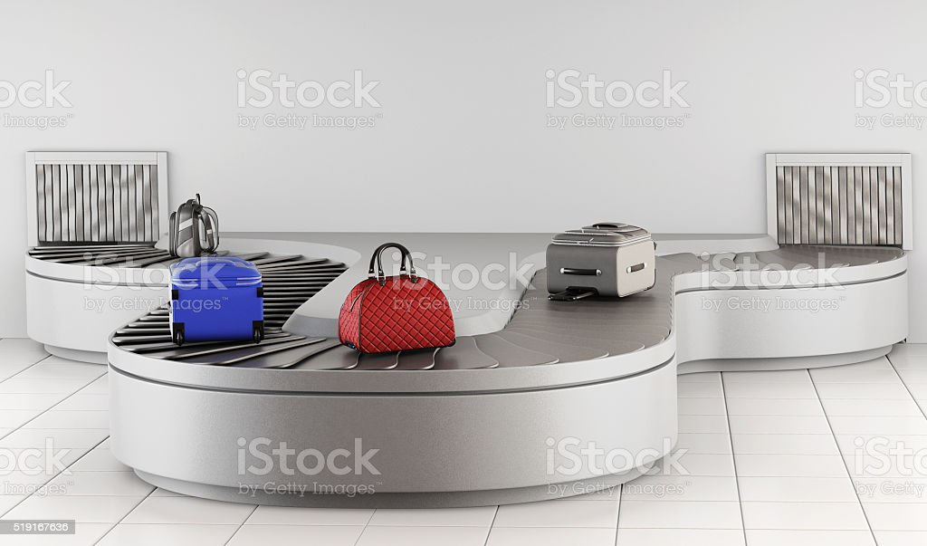 Luggage on the conveyor. Baggage claim. 3d rendering stock photo