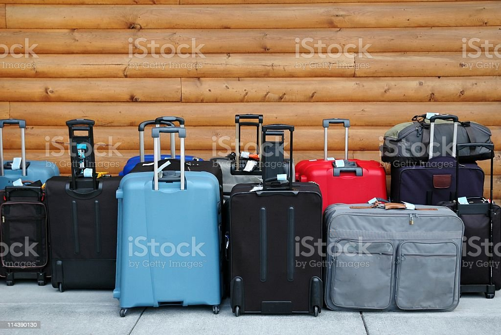 Luggage ready for departure waiting in hotel lobby stock photo