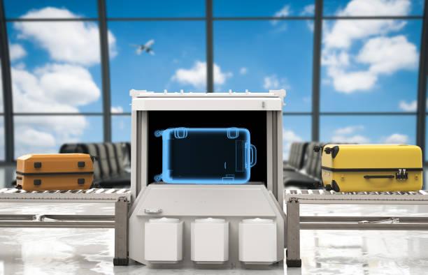 gepäck-scanner am flughafen - medizinischer scanner stock-fotos und bilder