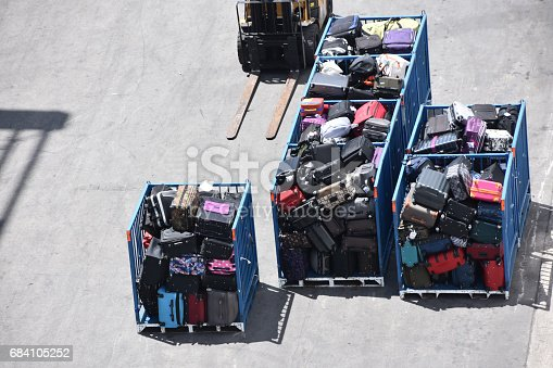 186763256 istock photo Luggage transfer at the airport 684105252