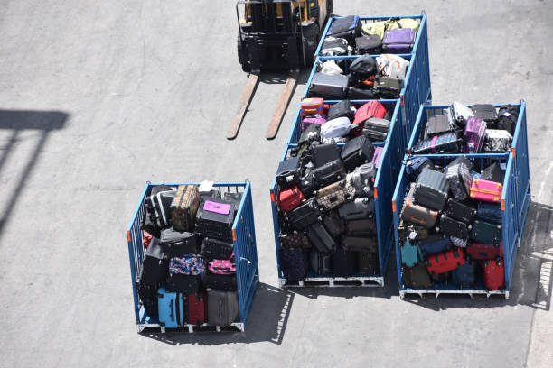 Luggage transfer at the airport stock photo