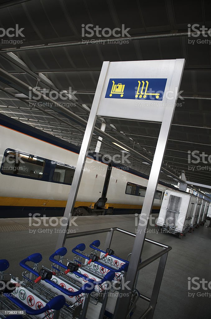 Luggage Trolleys in Train Station stock photo