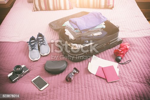 istock Luggage with clothes and other items 523878014