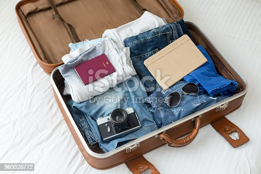 istock Luggage with clothes, other items 963326772
