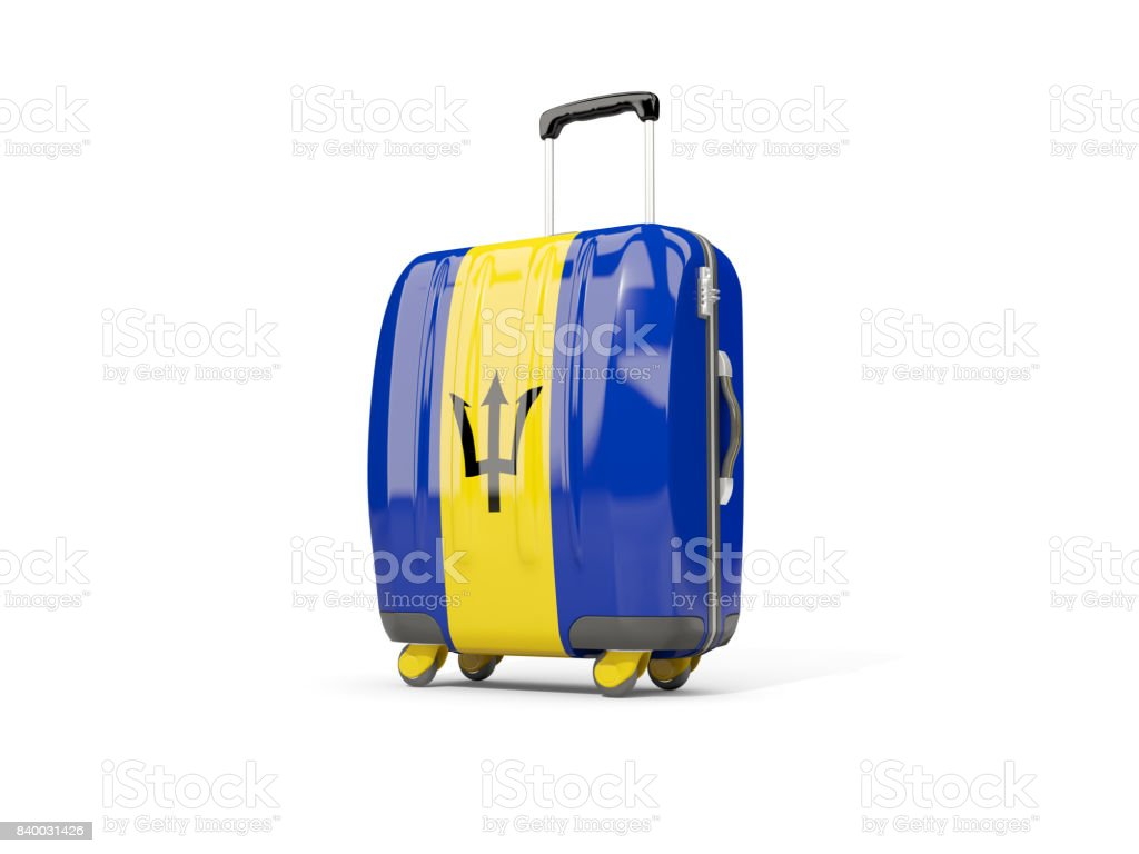 Luggage with flag of barbados. Suitcase isolated on white stock photo
