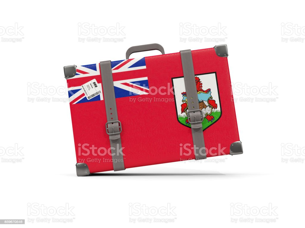 Luggage with flag of bermuda. Suitcase isolated on white stock photo