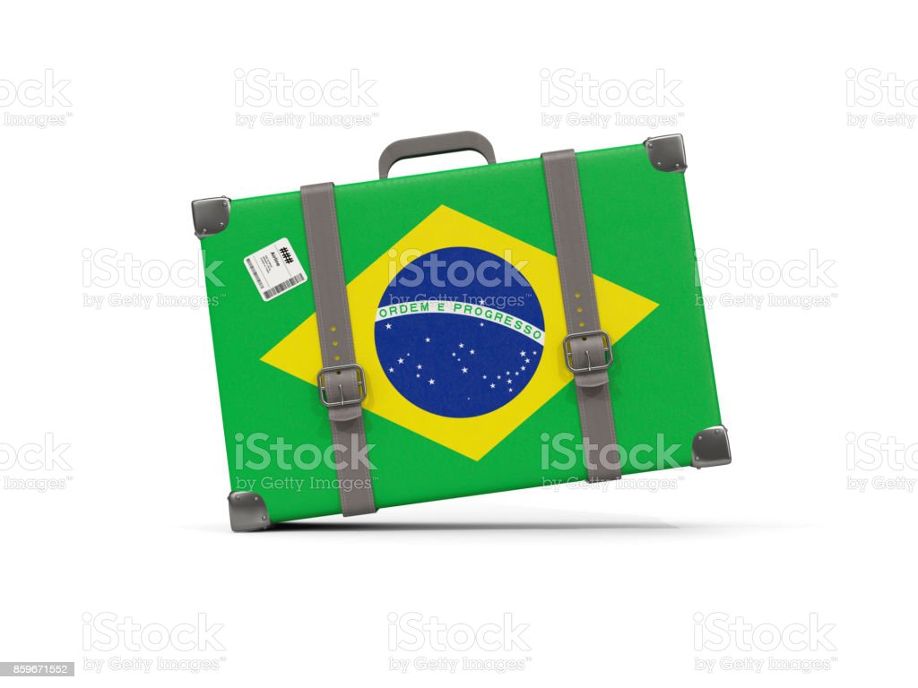Luggage with flag of brazil. Suitcase isolated on white stock photo