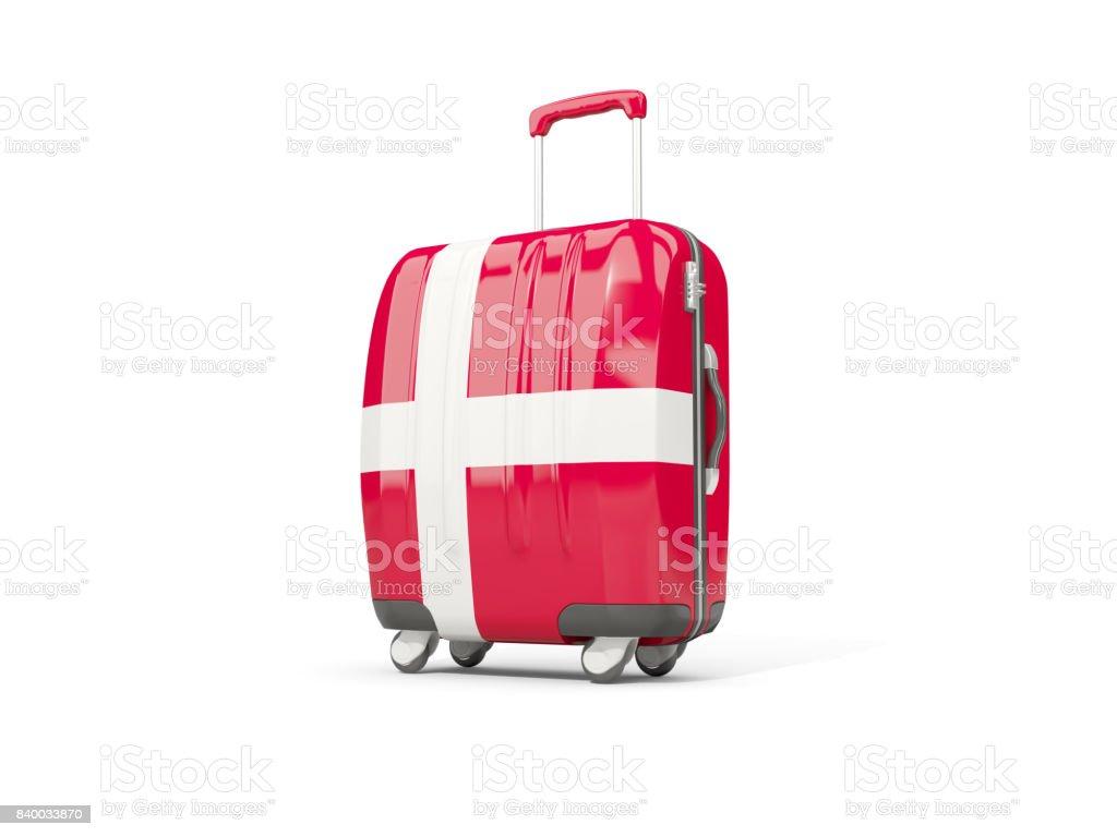 Equipaje con bandera de Dinamarca. Maleta aislado en blanco - foto de stock