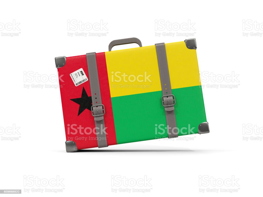 Luggage with flag of guinea bissau. Suitcase isolated on white stock photo