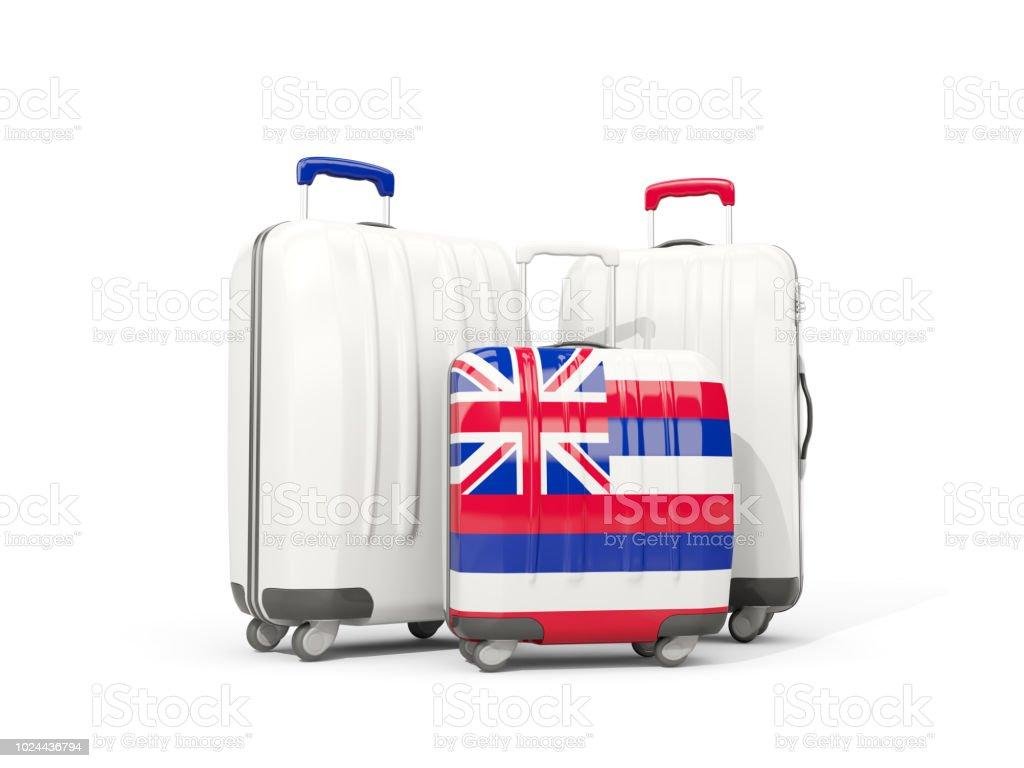 Bagagem com bandeira do Havaí. Três sacos com bandeiras locais dos Estados Unidos - foto de acervo