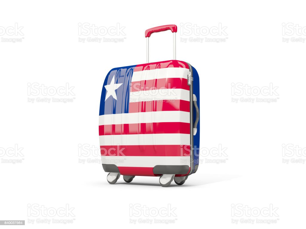 Luggage with flag of liberia. Suitcase isolated on white stock photo