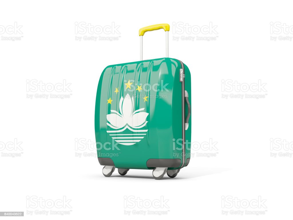 Luggage with flag of macao. Suitcase isolated on white stock photo