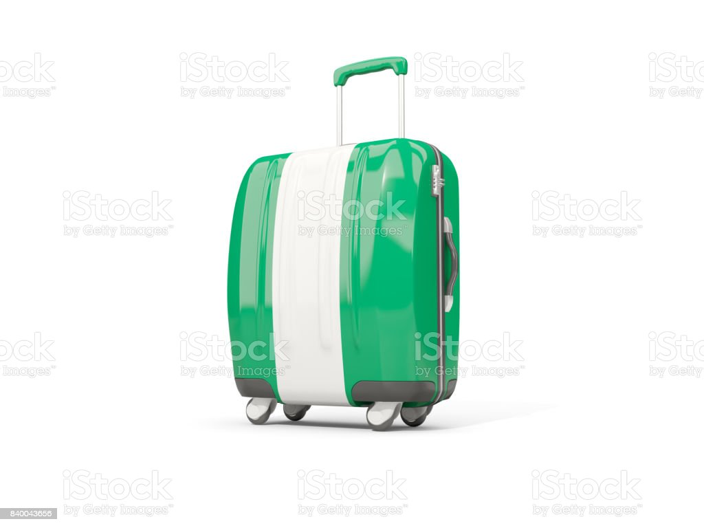 Equipaje con bandera de nigeria. Maleta aislado en blanco - foto de stock