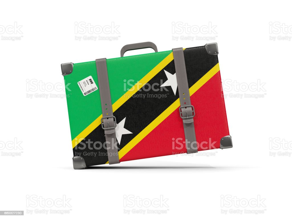 Luggage with flag of saint kitts and nevis. Suitcase isolated on white stock photo