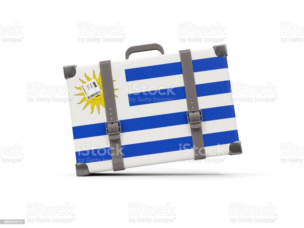 Equipaje con bandera de uruguay. Maleta aislado en blanco - foto de stock