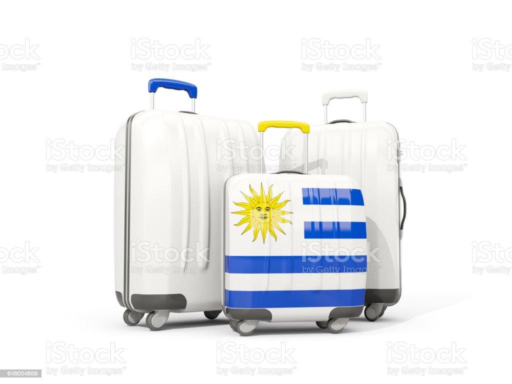 261585a67 Equipaje con bandera de uruguay. Tres bolsos aislados en blanco foto de  stock libre de