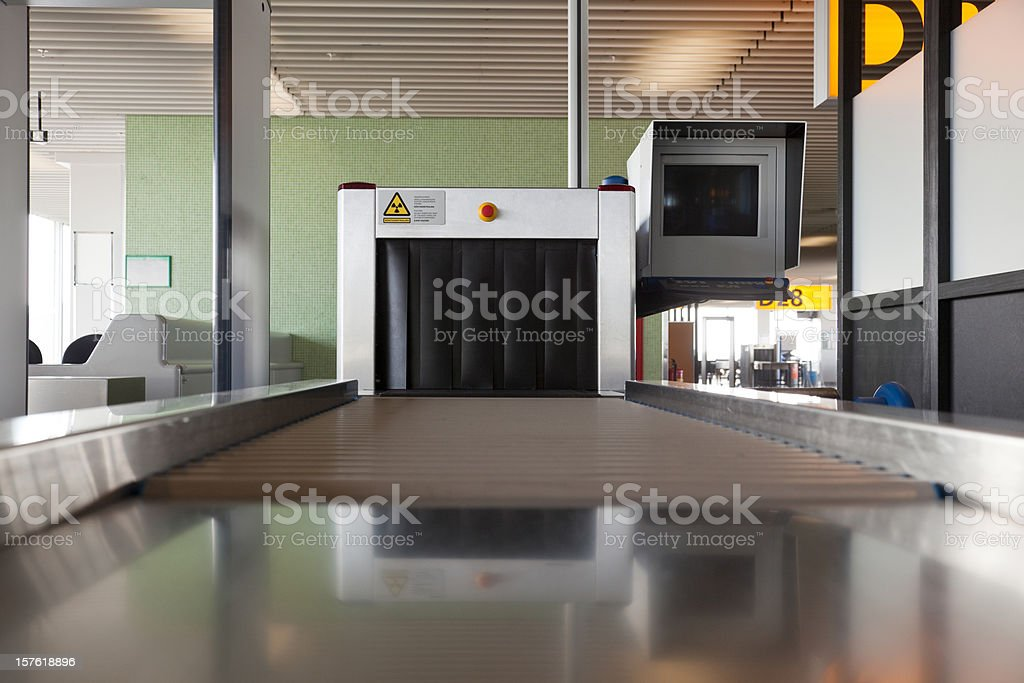 Luggage x-ray machine stock photo
