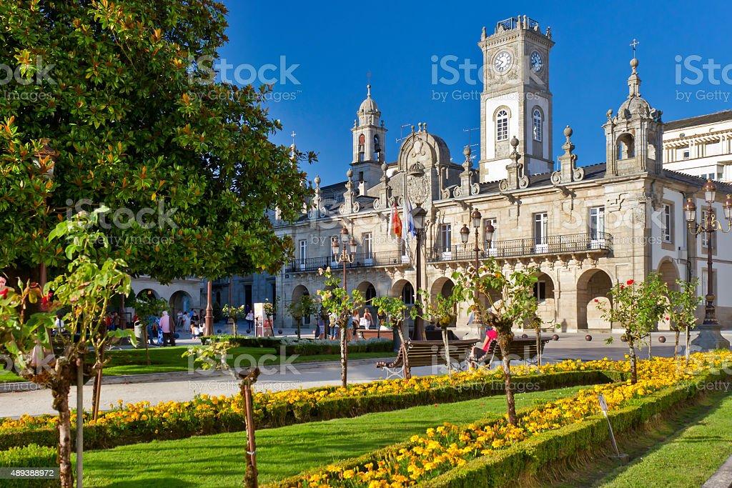 Lugo City Hall Square stock photo