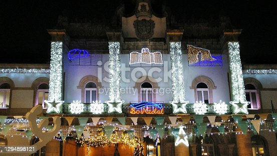 Lugo city Provincial Government Council and San Marcos town square with Christmas decorations, Galicia, Spain.