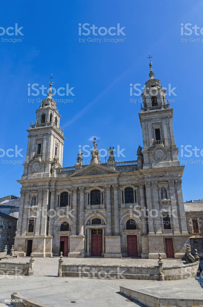 Lugo Saint Mary cathedral front view stock photo