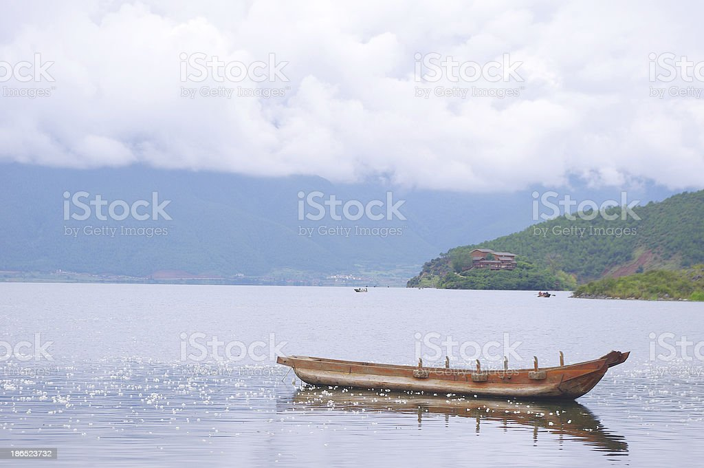 Lugu Lake boat royalty-free stock photo