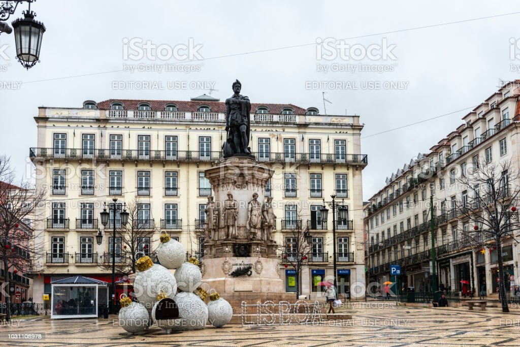 Luis de Camoes square in Lisbon stock photo