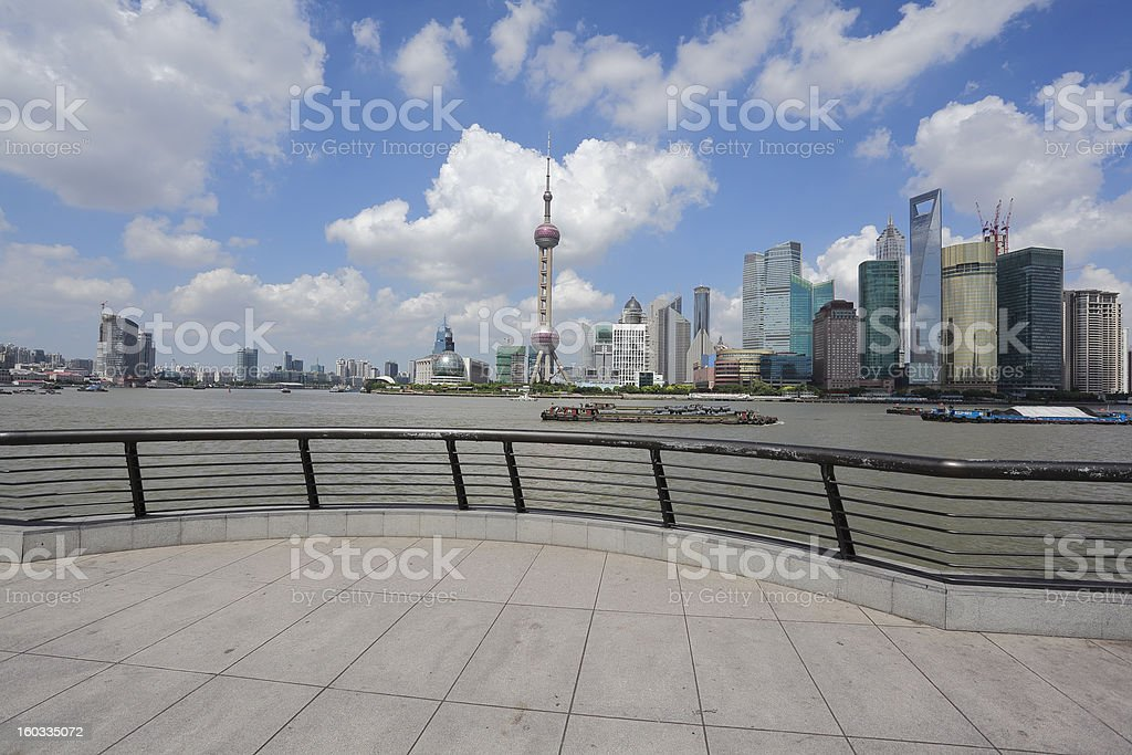 Lujiazui Finance&Trade Zone of Shanghai landmark skyline at city landscape royalty-free stock photo