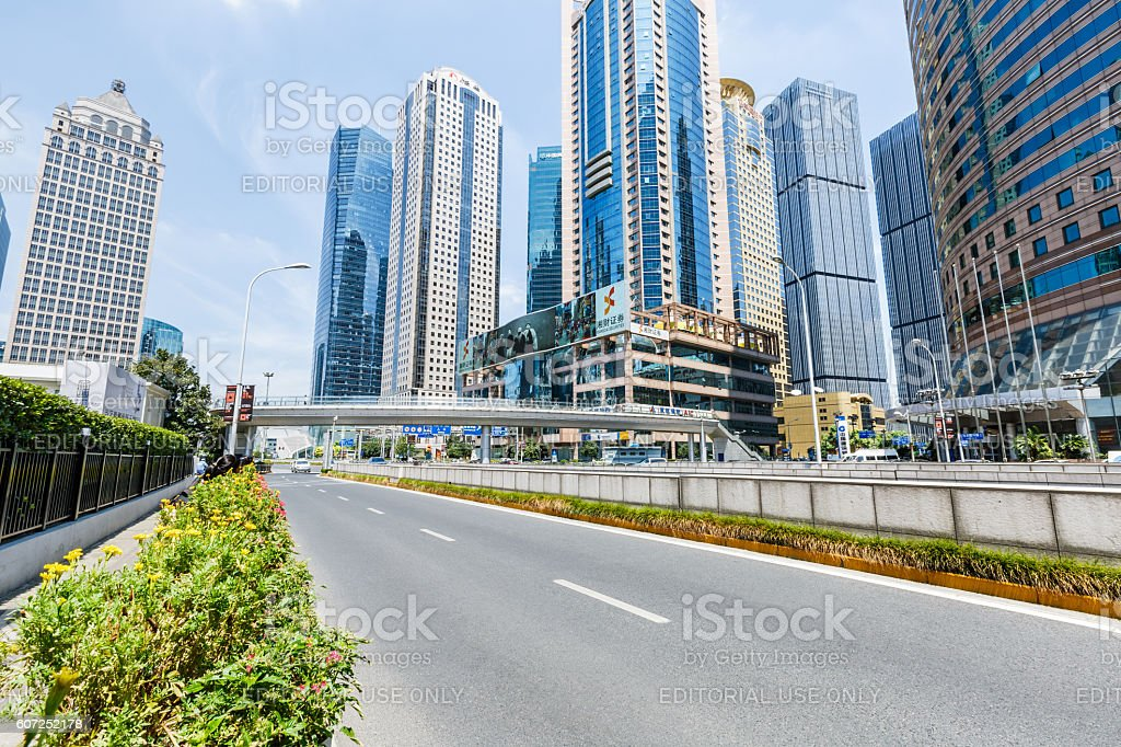 Lujiazui financial district skyscrapers buildings landscape in Shanghai,china stock photo