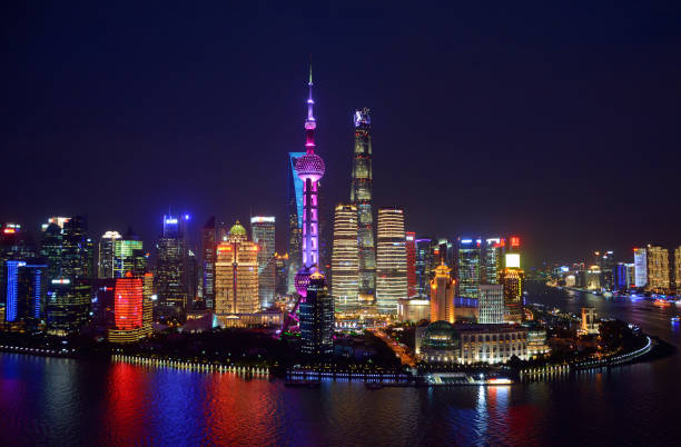 Lujiazui skyline by night, Shanghai, China stock photo