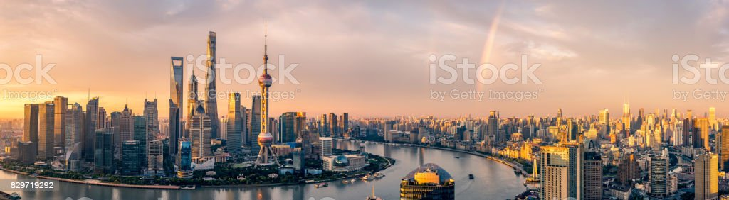 lujiazui sunrise stock photo