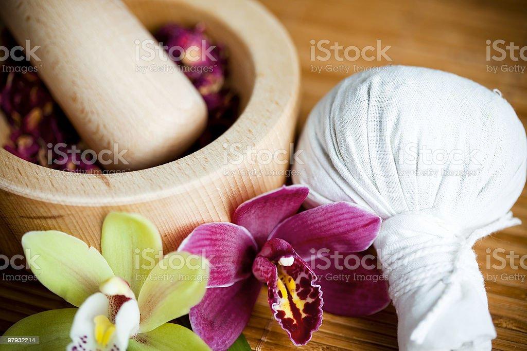Luk Pra Kob, massage stamp royalty-free stock photo