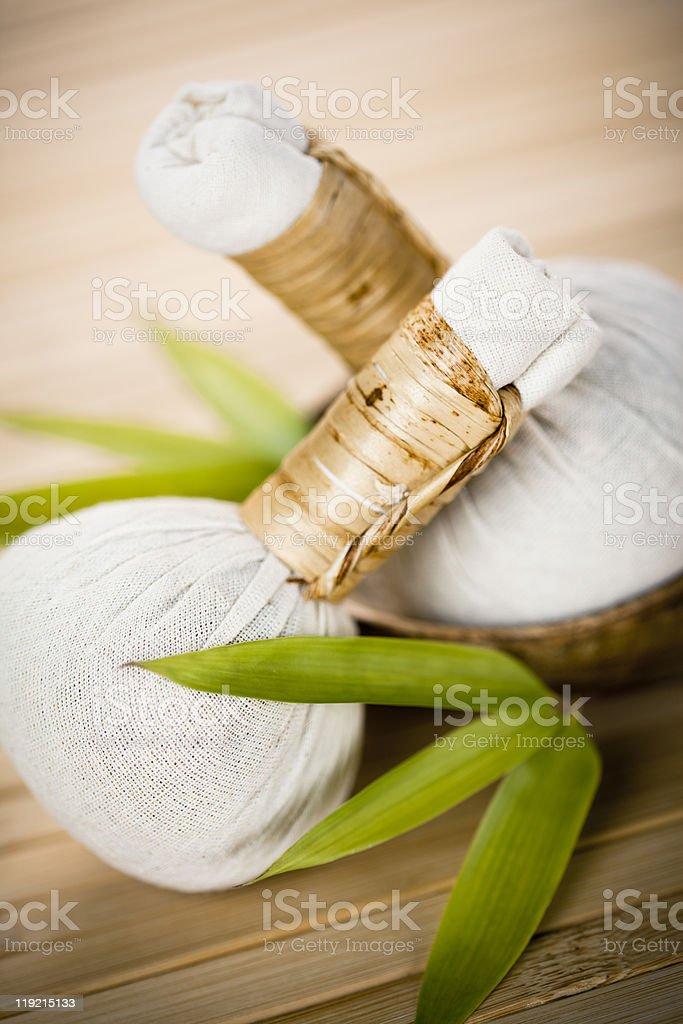 Luk Pra Kob, massage stamps royalty-free stock photo