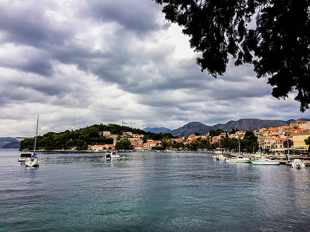 Luka Bay and Cavtat Old Town_Croatia ストックフォト