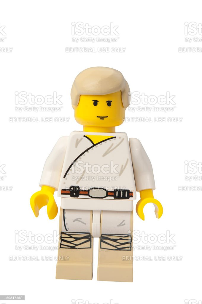 Luke Skywalker Star Wars Lego Minifigure stock photo