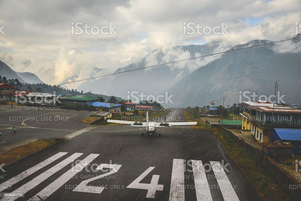 Lukla take off stock photo