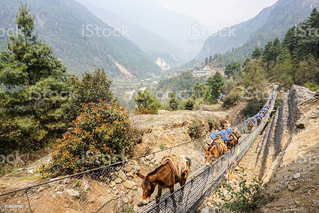Lukla to Monju, Nepal stock photo