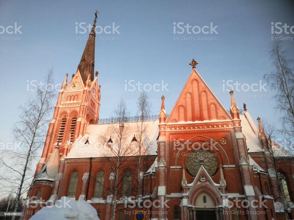 Lulea church in winter stock photo