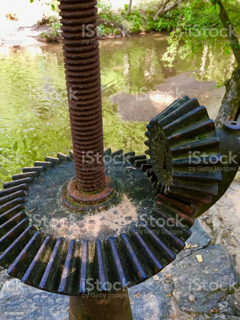 Lullwater Tower gears at Houston Mill royalty-free stock photo
